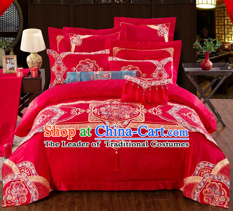 Traditional Chinese Style Marriage Embroidered Bedding Set Wedding Celebration Red Satin Drill Textile Bedding Sheet Quilt Cover Eleven-piece Suit