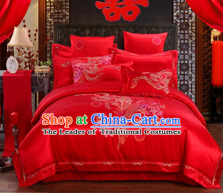 Traditional Chinese Style Marriage Embroidered Dragon and Phoenix Bedding Set Wedding Celebration Red Satin Drill Textile Bedding Sheet Quilt Cover Ten-piece Suit