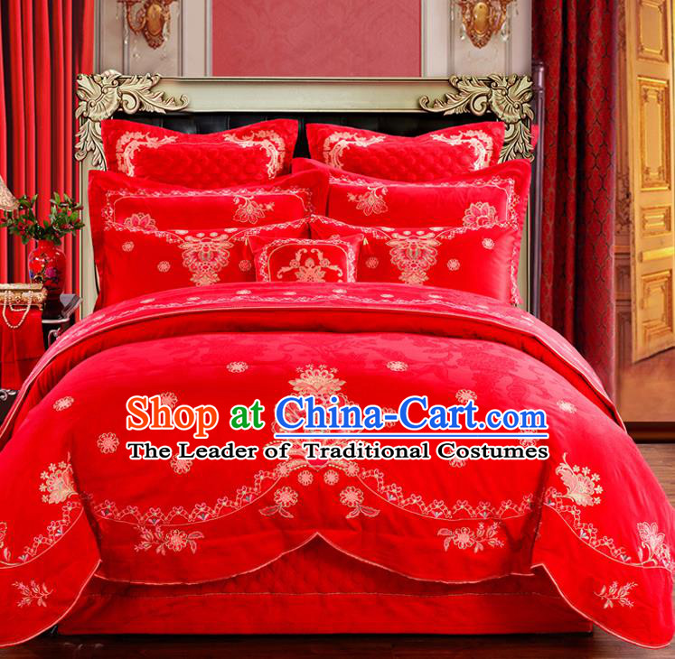 Traditional Chinese Style Marriage Embroidered Bedding Set Wedding Celebration Red Satin Drill Textile Bedding Sheet Quilt Cover Ten-piece Suit