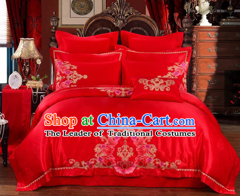 Traditional Chinese Style Marriage Embroidered Flowers Bedding Set Wedding Celebration Red Satin Drill Textile Bedding Sheet Quilt Cover Ten-piece Suit