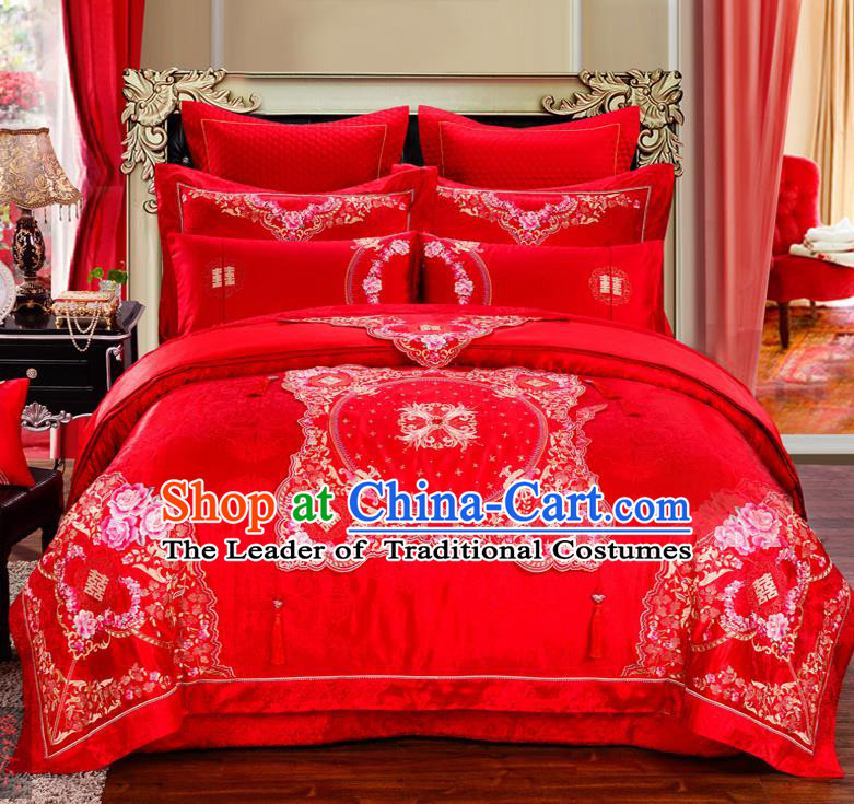Traditional Chinese Style Marriage Embroidered Peony Bedding Set Wedding Celebration Red Satin Drill Textile Bedding Sheet Quilt Cover Ten-piece Suit