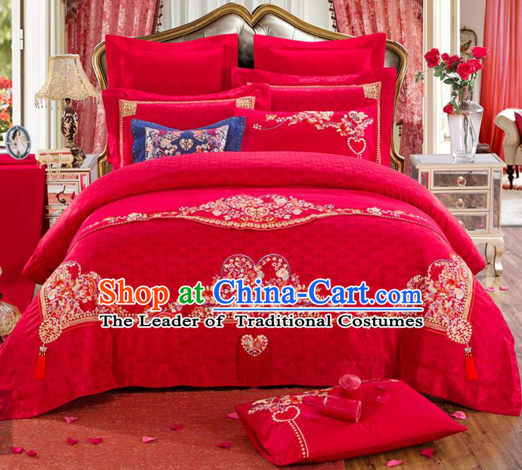 Traditional Chinese Style Marriage Embroidered Bedclothes Set Wedding Celebration Red Satin Drill Textile Bedding Sheet Quilt Cover Ten-piece Suit