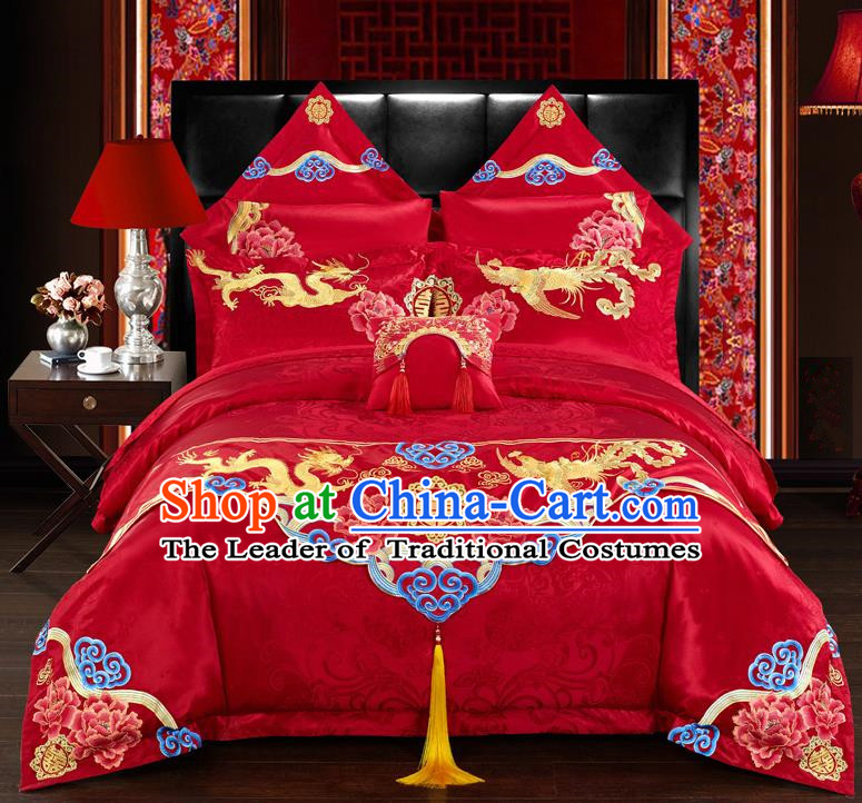 Traditional Chinese Style Marriage Embroidered Dragon and Phoenix Bedclothes Set Wedding Celebration Red Satin Drill Textile Bedding Sheet Quilt Cover Ten-piece Suit