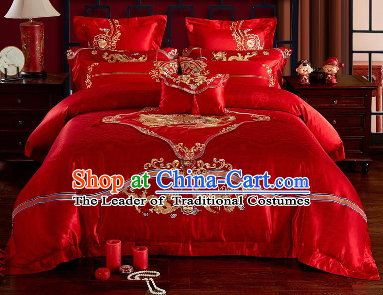 Traditional Chinese Style Marriage Embroidered Twin Bliss Bedclothes Set Wedding Celebration Red Satin Drill Textile Bedding Sheet Quilt Cover Ten-piece Suit
