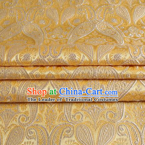 Chinese Royal Palace Traditional Costume Light Golden Satin Brocade Fabric, Chinese Ancient Clothing Drapery Hanfu Cheongsam Material