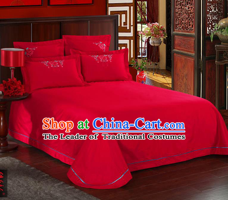 Traditional Chinese Style Wedding Bedding Article Embroidery Dragon and Phoenix Sheet and Duvet Cover Red Textile Bedding Suit