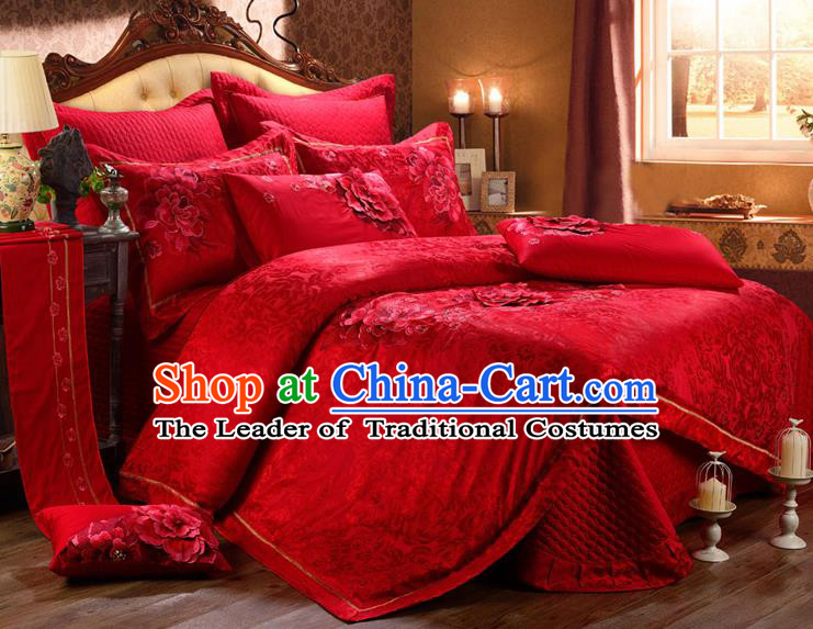 Traditional Chinese Style Marriage Bedding Set Printing Rose Wedding Red Textile Bedding Sheet Quilt Cover Ten-piece Suit