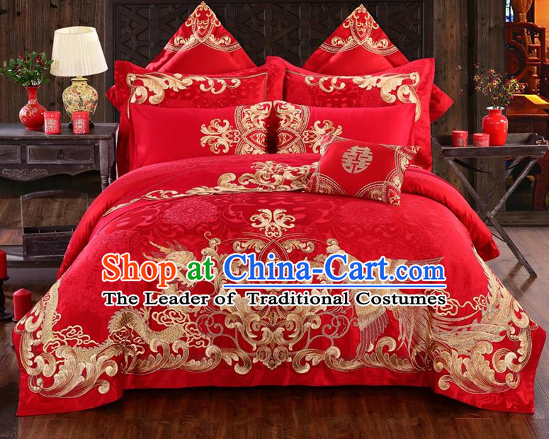 Traditional Chinese Style Marriage Bedding Set Printing Dragon and Phoenix Wedding Red Textile Bedding Sheet Quilt Cover Ten-piece Suit