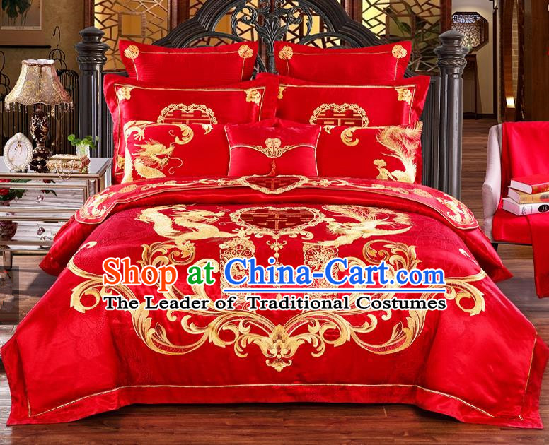 Traditional Chinese Style Marriage Bedding Set Embroidered Dragon Phoenix Wedding Red Satin Textile Bedding Sheet Quilt Cover Ten-piece Suit