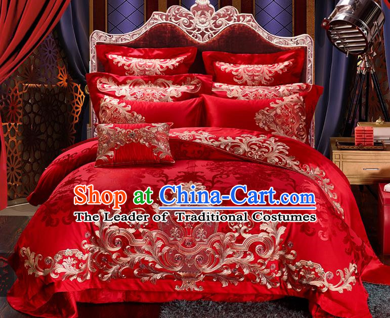 Traditional Chinese Style Marriage Bedding Set Embroidered Wedding Red Satin Textile Bedding Sheet Quilt Cover Ten-piece Suit