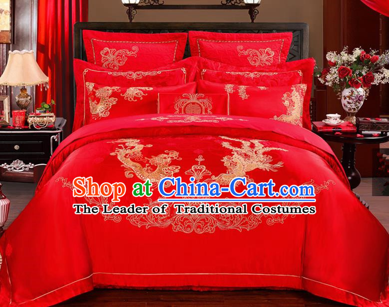 Traditional Chinese Style Marriage Bedding Set Embroidered Dragon and Phoenix Wedding Red Satin Textile Bedding Sheet Quilt Cover Ten-piece Suit