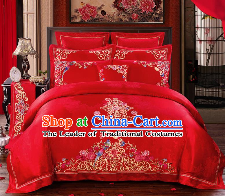 Traditional Chinese Style Marriage Bedding Set Embroidered Magpie Peony Wedding Red Satin Textile Bedding Sheet Quilt Cover Ten-piece Suit