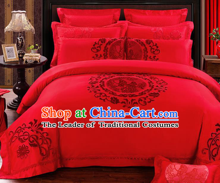 Traditional Chinese Style Marriage Bedding Set Embroidered Magpie Wedding Red Satin Drill Textile Bedding Sheet Quilt Cover Ten-piece Suit