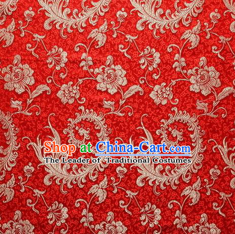 Chinese Royal Palace Traditional Costume Phoenix Flower Pattern Red Satin Brocade Fabric, Chinese Ancient Clothing Drapery Hanfu Cheongsam Material