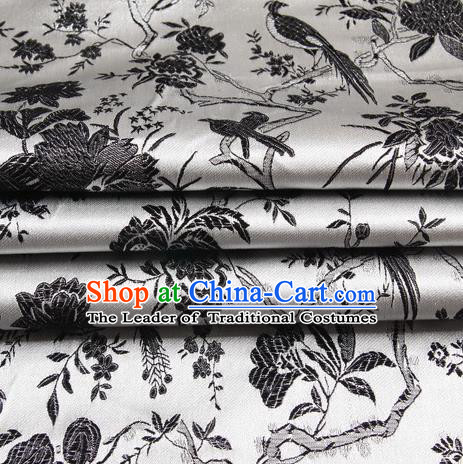 Chinese Royal Palace Traditional Costume Black Magpie Pattern White Satin Brocade Fabric, Chinese Ancient Clothing Drapery Hanfu Cheongsam Material