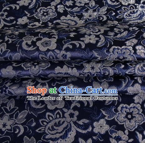Chinese Royal Palace Traditional Costume Pattern Navy Satin Brocade Fabric, Chinese Ancient Clothing Drapery Hanfu Cheongsam Material