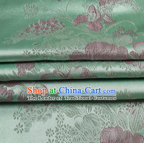 Chinese Royal Palace Traditional Costume Peony Pattern Green Satin Brocade Fabric, Chinese Ancient Clothing Drapery Hanfu Cheongsam Material