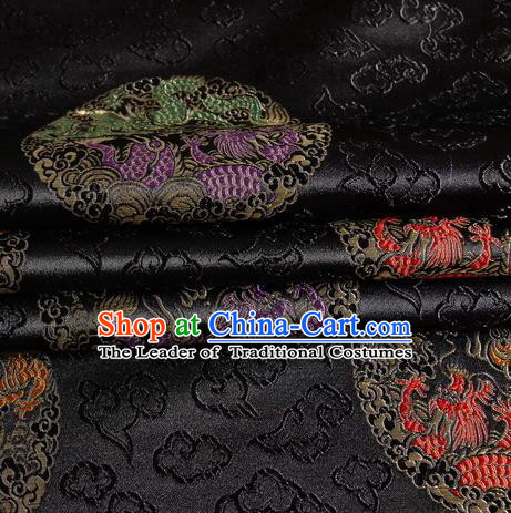 Chinese Royal Palace Traditional Costume Dragon Pattern Black Satin Brocade Fabric, Chinese Ancient Clothing Drapery Hanfu Cheongsam Material