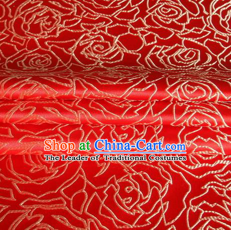 Chinese Royal Palace Traditional Costume Rose Pattern Red Satin Brocade Fabric, Chinese Ancient Clothing Drapery Hanfu Cheongsam Material