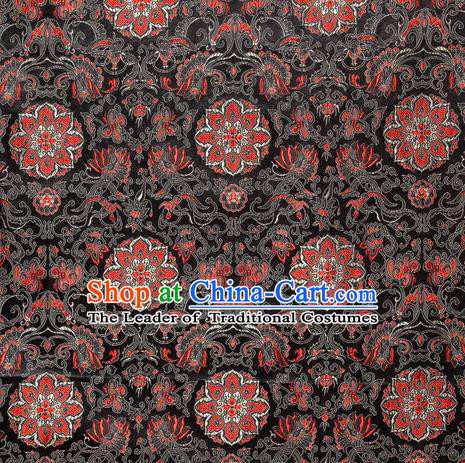 Chinese Royal Palace Traditional Costume Guanyin Flowers Pattern Black Satin Brocade Fabric, Chinese Ancient Clothing Drapery Hanfu Cheongsam Material