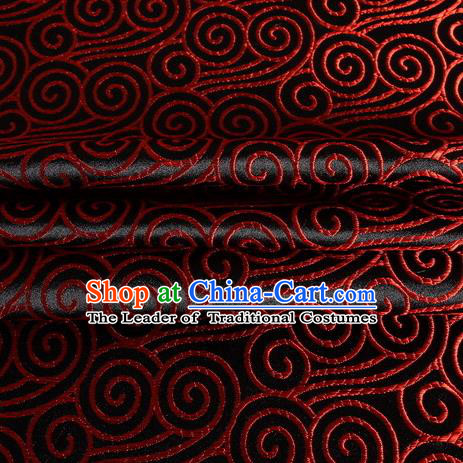 Chinese Royal Palace Traditional Costume Auspicious Clouds Pattern Black Satin Brocade Fabric, Chinese Ancient Clothing Drapery Hanfu Cheongsam Material