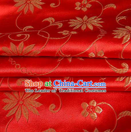 Chinese Royal Palace Traditional Costume Lotus Pattern Red Satin Brocade Fabric, Chinese Ancient Clothing Drapery Hanfu Cheongsam Material