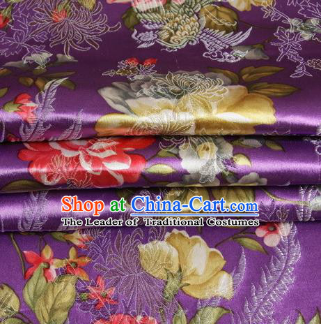 Chinese Royal Palace Traditional Costume Peony Pattern Purple Satin Brocade Fabric, Chinese Ancient Clothing Drapery Hanfu Cheongsam Material