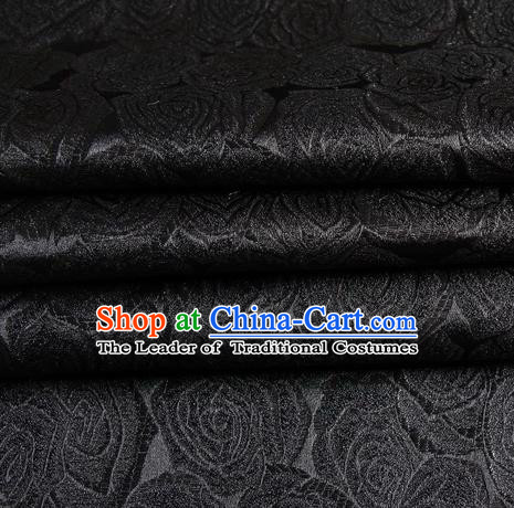 Chinese Royal Palace Traditional Costume Rose Pattern Black Satin Brocade Fabric, Chinese Ancient Clothing Drapery Hanfu Cheongsam Material