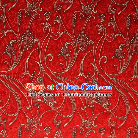 Chinese Royal Palace Traditional Costume Peacock Pattern Red Satin Brocade Fabric, Chinese Ancient Clothing Drapery Hanfu Cheongsam Material