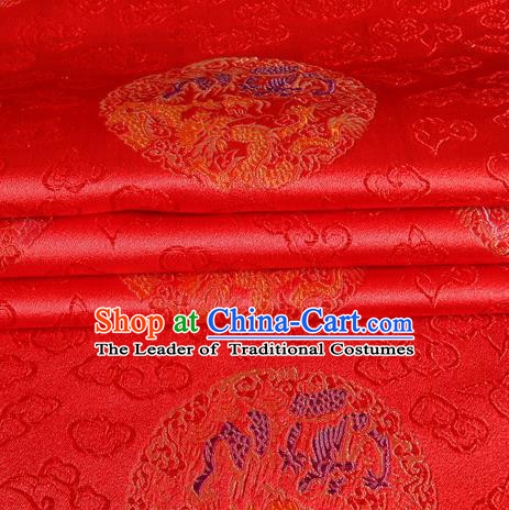 Chinese Royal Palace Traditional Costume Dragon Pattern Red Satin Brocade Fabric, Chinese Ancient Clothing Drapery Hanfu Cheongsam Material