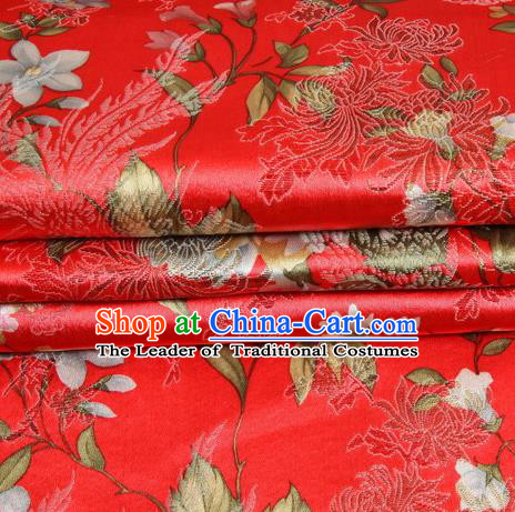 Chinese Royal Palace Traditional Costume Peony Pattern Red Satin Brocade Fabric, Chinese Ancient Clothing Drapery Hanfu Cheongsam Material