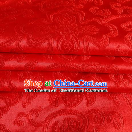 Chinese Royal Palace Traditional Costume Rich Pattern Red Satin Brocade Fabric, Chinese Ancient Clothing Drapery Hanfu Cheongsam Material
