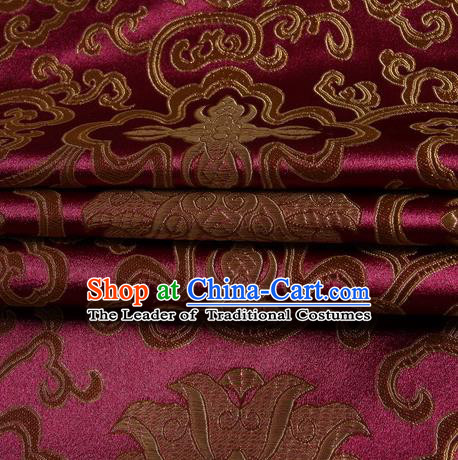 Chinese Royal Palace Traditional Costume Rich Pattern Amaranth Satin Brocade Fabric, Chinese Ancient Clothing Drapery Hanfu Cheongsam Material