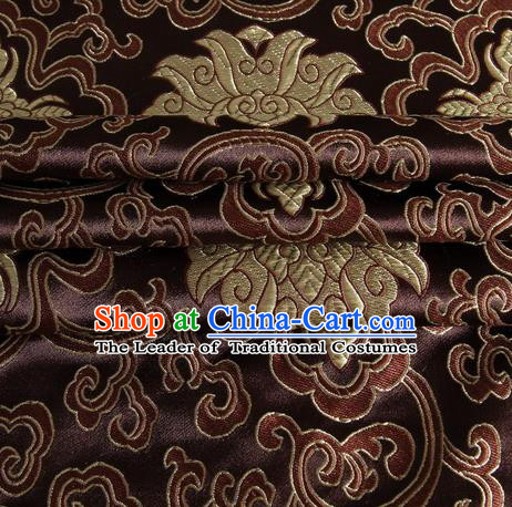 Chinese Royal Palace Traditional Costume Rich Pattern Coffee Satin Brocade Fabric, Chinese Ancient Clothing Drapery Hanfu Cheongsam Material