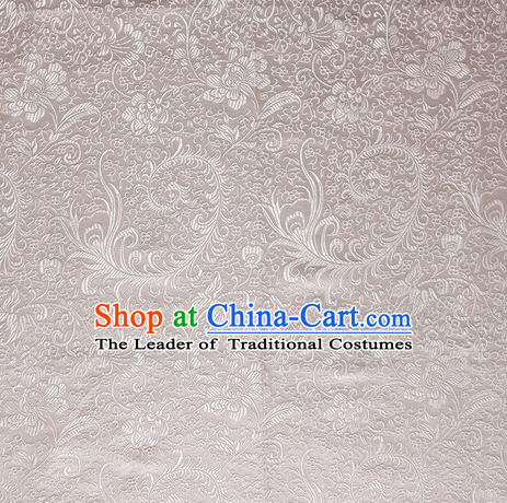 Chinese Royal Palace Traditional Costume Phoenix Flower Pattern White Satin Brocade Fabric, Chinese Ancient Clothing Drapery Hanfu Cheongsam Material