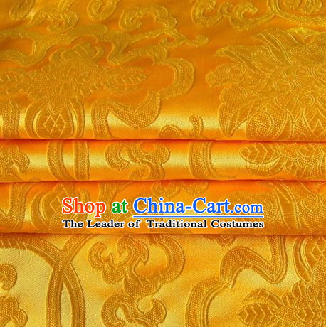 Chinese Royal Palace Traditional Costume Rich Pattern Golden Satin Brocade Fabric, Chinese Ancient Clothing Drapery Hanfu Cheongsam Material