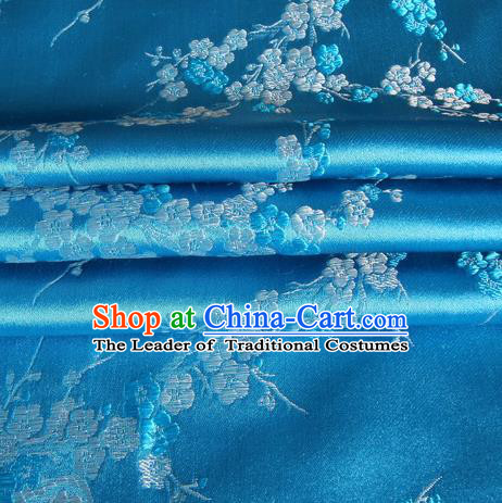 Chinese Royal Palace Traditional Costume Wintersweet Pattern Blue Satin Brocade Fabric, Chinese Ancient Clothing Drapery Hanfu Cheongsam Material