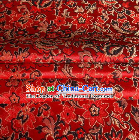 Chinese Royal Palace Traditional Costume Morning Glory Pattern Red Satin Brocade Fabric, Chinese Ancient Clothing Drapery Hanfu Cheongsam Material