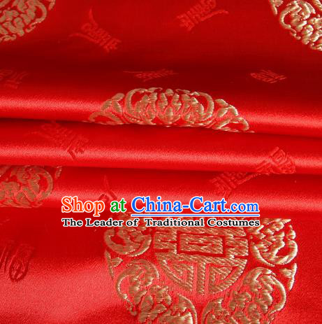 Chinese Royal Palace Traditional Costume Fu Character Pattern Red Satin Brocade Fabric, Chinese Ancient Clothing Drapery Hanfu Cheongsam Material