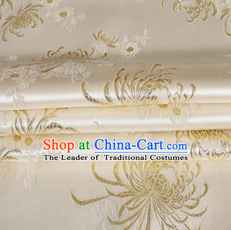Chinese Royal Palace Traditional Costume Chrysanthemum Pattern White Satin Brocade Fabric, Chinese Ancient Clothing Drapery Hanfu Cheongsam Material