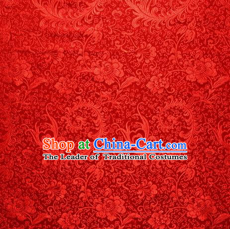 Chinese Royal Palace Traditional Costume Pteris Pattern Red Satin Brocade Fabric, Chinese Ancient Clothing Drapery Hanfu Cheongsam Material