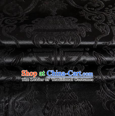 Chinese Traditional Costume Royal Palace Pattern Black Satin Brocade Fabric, Chinese Ancient Clothing Drapery Hanfu Cheongsam Material