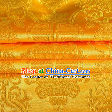 Chinese Traditional Costume Royal Palace Pattern Golden Satin Brocade Fabric, Chinese Ancient Clothing Drapery Hanfu Cheongsam Material