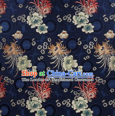 Chinese Traditional Costume Royal Palace Chrysanthemum Pattern Blue Satin Brocade Fabric, Chinese Ancient Clothing Drapery Hanfu Cheongsam Material