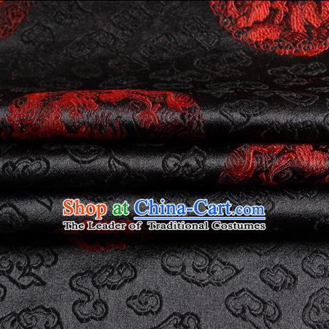 Chinese Traditional Costume Royal Palace Dragon Pattern Black Satin Brocade Fabric, Chinese Ancient Clothing Drapery Hanfu Cheongsam Material
