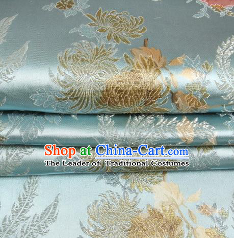 Chinese Traditional Costume Royal Palace Peony Pattern Blue Satin Brocade Fabric, Chinese Ancient Clothing Drapery Hanfu Cheongsam Material