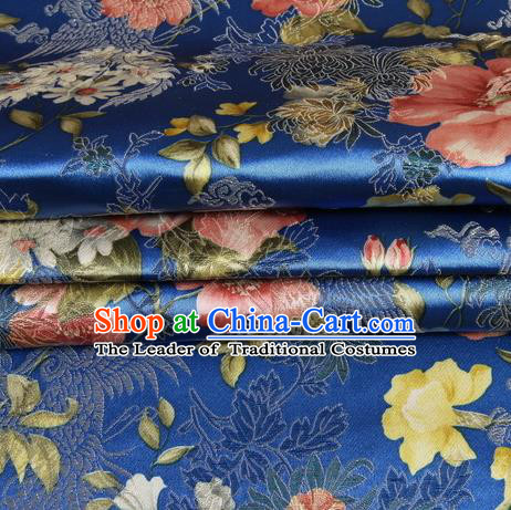 Chinese Traditional Costume Royal Palace Peony Pattern Royalblue Satin Brocade Fabric, Chinese Ancient Clothing Drapery Hanfu Cheongsam Material