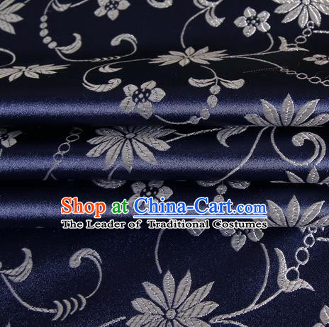 Chinese Traditional Costume Royal Palace Lotus Pattern Deep Blue Satin Brocade Fabric, Chinese Ancient Clothing Drapery Hanfu Cheongsam Material