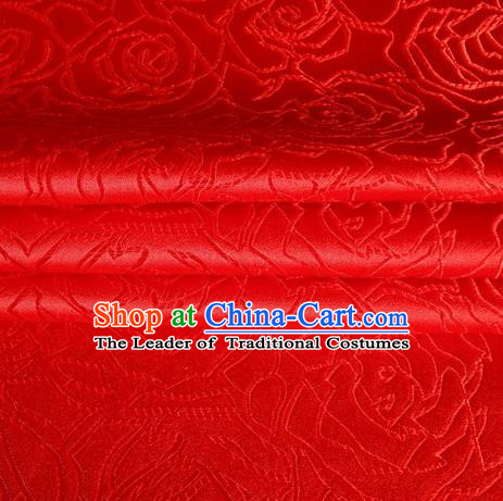 Chinese Traditional Costume Royal Palace Rose Pattern Red Satin Brocade Fabric, Chinese Ancient Clothing Drapery Hanfu Cheongsam Material