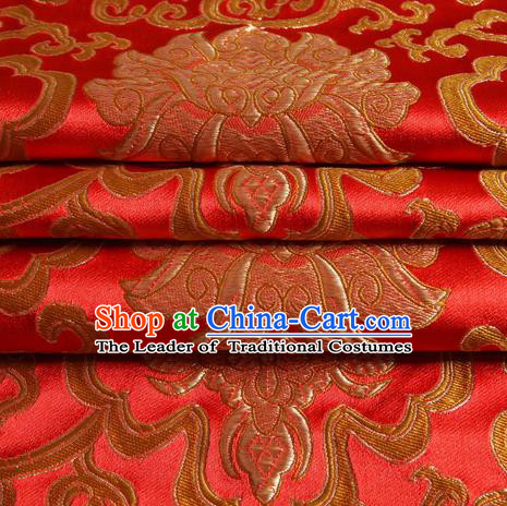 Chinese Traditional Costume Royal Palace Golden Rich Pattern Red Satin Brocade Fabric, Chinese Ancient Clothing Drapery Hanfu Cheongsam Material